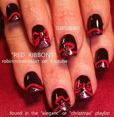 black with red bow nail art elegant beautiful nails  http://www.youtube.com/watch?v=n5s1M1QWN1w