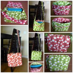 """Reversible Messenger Bag with front/side/inside pockets.  Approx size 12"""" x 11"""" x  4"""""""
