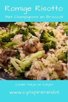 """Deze risotto zonder pakjes en zakjes is zó lekker! Dit recept voor heerlijke risotto met champignons en broccoli is prima voor een dagje zonder vlees, maar je kunt het ook met gehakt maken. Maar zelfs mijn man (overtuigd carnivoor) miste het vlees niet in dit gerecht. En ook mijn dochter van drie zei: """"Lekker gekookt, mama!"""" Dus vol vertrouwen deel ik vandaag mijn favoriete risotto recept zonder pakjes en zakjes met jou! Kitchen Magic, Vegetarian, Beef, Chicken, Dinner, Vegetables, Food, Mushroom, Meat"""