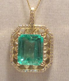 RARE Clean COLOMBIAN EMERALD Pendant 5.05ct Octagon 14k Yellow Gold