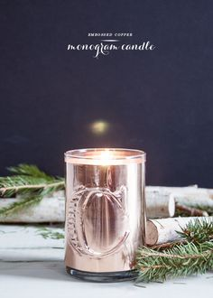 Handmade Holiday: Monogram Copper Candle - Earnest Home co. Easy Crafts To Sell, Paper Crafts For Kids, Home Candles, Diy Candles, Copper Candle Holders, Construction Paper Crafts, Small Craft Rooms, Do It Yourself Inspiration, Diy Wedding Backdrop