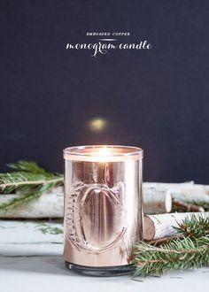 embossed monogram candle diy