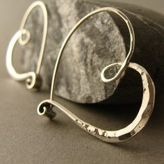sterling silver heart hoops smooth hammered  endless by 2TrickPony, $49.00