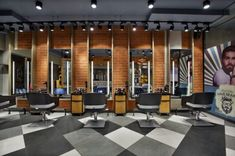The Neo-retro Styling Place Modern Barber Shop, Barber Shop Interior, Barber Shop Decor, Hair Salon Interior, Salon Interior Design, Salon Design, Parlour Design, Barbershop Design, Beauty Salon Decor