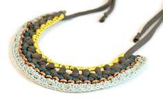 FALL 2012// necklace grey jersey mint teal lemon yarn oxidised von gudbling, €79,00
