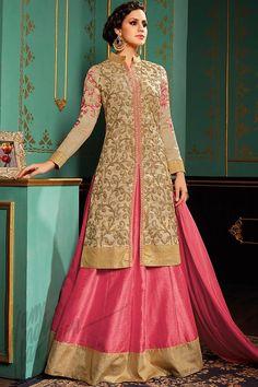 Buy Beige and Pink Taffeta Silk Jacket Style Lehenga Online at indi.fashion