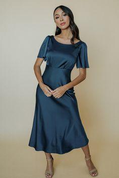 Satin Midi Dress, Green Satin, Wedding Colors, Cold Shoulder Dress, Feminine, Dresses For Work, Gowns, Womens Fashion, Delicate Wash
