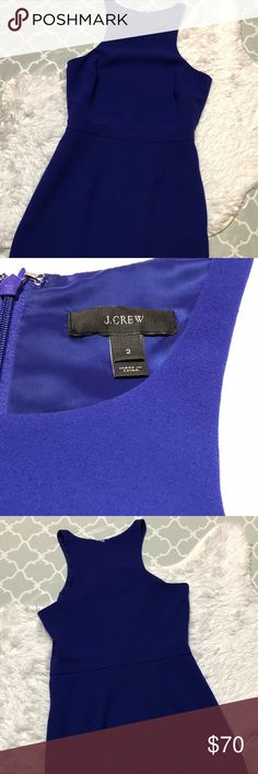 "J.  Crew Cutaway Dress 100% Polyester. Lined. Pockets. Dry Clean. Bust: approx. 15.5"". Waist approx. 13.75"". Beautiful deep purple color. J. Crew Dresses"