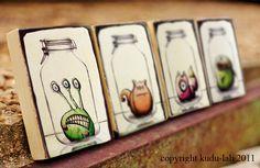Object or creature in mason jar.  Good transparency practice    Skitch Mason Jar Critter Art