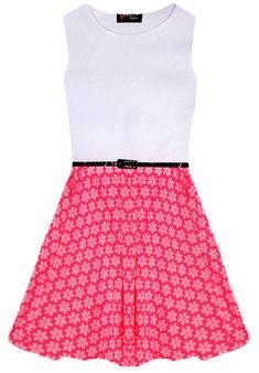 Filles Rose Neon Floral Robe Patineuse Rétro Parti ceinturé Blanc Neuf âge 7 8 9 10 11 12 13 Ans