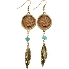 American Coin Treasures 100 Year Old Indian Head Penny Feather... ($30) ❤ liked on Polyvore featuring jewelry, earrings, dangle earrings, antique turquoise jewelry, western earrings, indian earrings and antique earrings