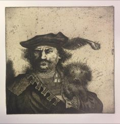 """Rembrandt's Dog"" by Mychael Barratt (etching)"