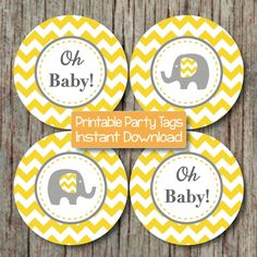Yellow Grey Chevron Baby Shower Decorations Printable Party Supplies Cupcake Toppers Oh Baby! Elephant diy Favor Tags INSTANT DOWNLOAD 102