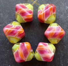 Lampwork Glass Beads 029 Crystals 6 Pink Orange by beadgoodies