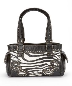 Look at this Black & White Zebra Rhinestone Satchel on #zulily today!