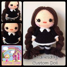 Custom crocheted Wednesday Addams Doll by Darcy's Dolls.