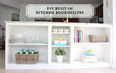 Take the basic Billy bookcase and transform it with one of these great ikea hacks - all with simple DIY skills for any level. Kitchen Bookshelf, Ikea Billy Bookcase, Built In Bookcase, Ikea Shelves, Build Shelves, Ikea Hack Billy, Layout Design, Cheap Bookshelves, Faux Walls
