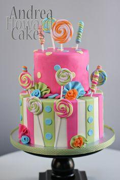 Pink, Aqua & Sage Polka Dot and Stripes Candy Cake