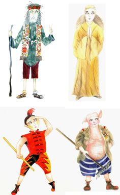 journey to the west Pilgrim Costumes - designs by Kim Carpenter Pilgrim Costume, The Happy Prince, Journey To The West, Man On The Moon, Image Shows, Carpenter, Costume Design, Monkey, Theatre