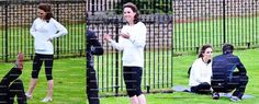 Kate Middleton, Duchess of Cambridge attending yoga lessons in Kensington Palace (2012).
