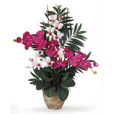 Double Phalaenopsis and Dendrobium Silk Orchid with Vase | Nearly Natural silk, faux flowers | Pink home decor ideas | Tropical flower arrangement brings the Polynesian style indoors