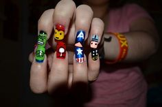 Try out these different styles of funky nail art designs on your nails and be as funky as you can. These funky nail designs are the best for your nails designs. Hopefully you will like these nail designs ideas. Hair And Makeup Tips, Hair And Nails, Avengers Nails, Marvel Nails, Marvel Avengers, Marvel Heroes, Marvel Comics, Colorful Nail Art, Health Guru