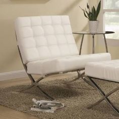 Check out the Coaster Furniture 902183 Contemporary Waffle Accent Chair in White/Chrome priced at $266.85 at Homeclick.com.