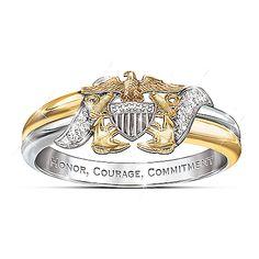 Navy Diamond Embrace Ring With Sculpted Navy Emblem Us Navy Tattoos, Us Navy Women, Navy Mom, Navy Life, Navy Sister, Navy Emblem, Navy Girlfriend, Navy Sailor, United States Navy