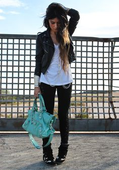 leather jacket + mint green balenciaga