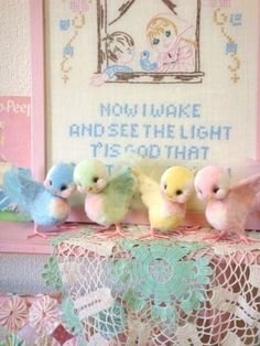 Vintage pastel birdies for Easter
