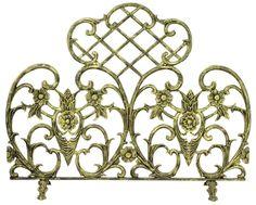 "Uniflame S-5502 33"" High Single Panel Antique Gold Cast Aluminum Screen Antique Bronze Accessory Fireplace Screen"