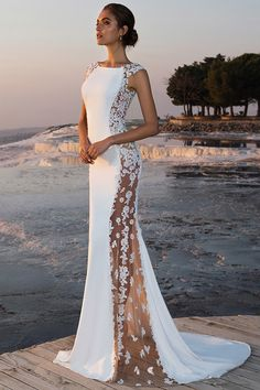 Fabulous Stretch Chiffon Bateau Neckline See-through Mermaid Wedding Dress With Beaded Lace Appliques