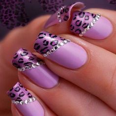Image via Soft pink and glitter leopard print nail art inspired by the lovely. Image via Leopard nails by vintagemaddness. Image via Leopard nails image Image via Leopard Pink Leopard Nails, Purple Nail Art, Purple Wedding Nails, Purple Makeup, Snow Leopard, Fancy Nails, Cute Nails, Pretty Nails, Fabulous Nails