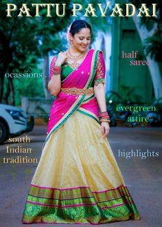 Anchor Anasuya Bharadwaj Beautiful in Half Saree Pattu Saree Blouse Designs, Half Saree Designs, Bridal Blouse Designs, Lehenga Designs, Dress Designs, Half Saree Lehenga, Lehnga Dress, Frock Dress, Lehenga Blouse