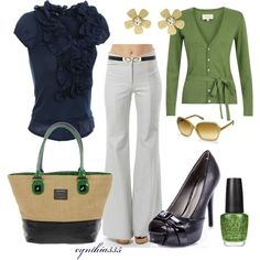 "spring outfits white pants, navy ruffle shirt, green cardigan, black peep toe. ""nautical twist"""
