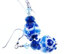 White Blue Lampwork Glass Bead Earrings, Heart Glass Bead Jewelry, Unique Abstract Beaded Earrings, Beadwork Lampwork Jewelry