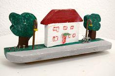 Buntes Haus Mini-Landschaft Landleben Holz Skyline von SchlueterKunstundDesign - Wohnzubehör, Unikate, Treibholzobjekte, Modeschmuck aus Treibholz auf DaWanda.com