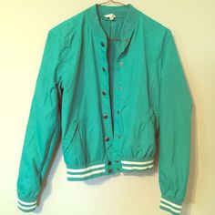 Forever 21/ H81 Aqua letterman windbreaker! CUTE!! What an adorable exclusive from forever 21, (heritage 81) same store and company. Aqua windbreaker! Cute, comfortable and functional. Light weight. Great color! Size S. Forever 21 Jackets & Coats