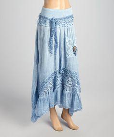Blue Lace Layered Maxi Skirt by Tiziana Cervasio #zulily #zulilyfinds
