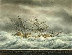 """Ex-voto: """"Navire essuyant un ouragan"""", by François Geffroy Roux, 1858;  watercolor, gouache"""