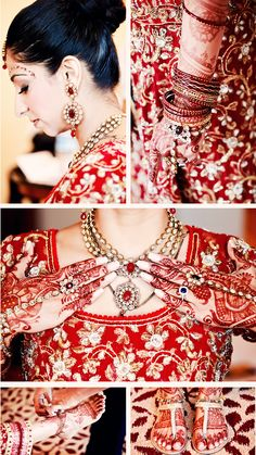 Beautiful Indian bride, decked with jewelry and henna.