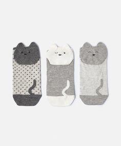 3-pack of kitten ankle socks - | Autumn Winter 2016 - Oysho Spain