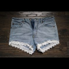 Free People Shorts Lacey denim shorts, mid-high waist. LOVE these but just had a baby and don't fit in them anymore. Free People Shorts