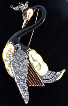 2 DAY SALE Ultimate 1940s David Mir TRIFARI Royal Swan Figural Pearl from thedealhuntress on Ruby Lane