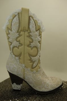 WeDDING LACe Boots ALICIA Collection IvoryTan by MaryMarryMe, $150.00