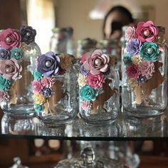 Items similar to Paper Flower Jars - Gold & Pink Unicorn on Etsy Flowers In Jars, All Flowers, Flower Jars, Beautiful Flowers, Pot Mason Diy, Mason Jar Crafts, Bottle Crafts, Large Mason Jars, Mason Jar Wine Glass