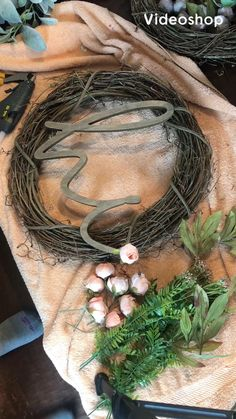 Wreath making, DIY, farmhouse wreath You are in the right place about diy wreaths for front door eas Wreath Crafts, Diy Wreath, Wreath Making, Grapevine Wreath, Ribbon Wreath Tutorial, Tulle Wreath, Hydrangea Wreath, Wreath Ideas, Home Crafts