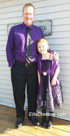 Thank you JoJean for submitting in our photo contest. Your daughter looks so pretty! She attending a Father/Daughter Ball and she looks so happy with her Father! https://www.elitedresses.com/Girls_Purple_Dress_with_Black_Tulle_Overlay_and_Ma_p/dci1362p.htm  #CustomerPhotos #BeautifulPicture #BeautifulDresses #FatherDaughterBall2015