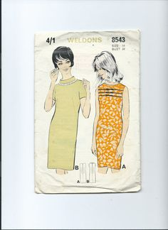 Vintage  paper pattern Weldons 8543 for shift dress by Marcialois