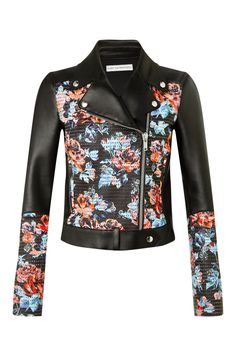 GRACE JACKET Panelled with printed and perforated floral rose detail  contrasted against block black panelling 508ecea7421